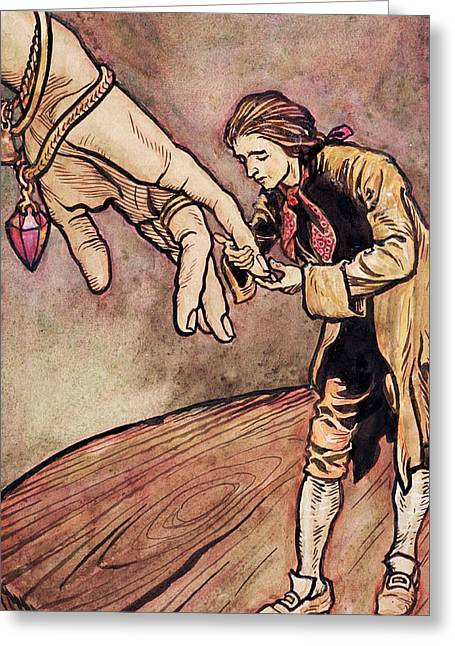 Jonathan Greeting Cards - Gulliver in Brobdingnag Kissing the Hand of the Queen Greeting Card by Arthur Rackham