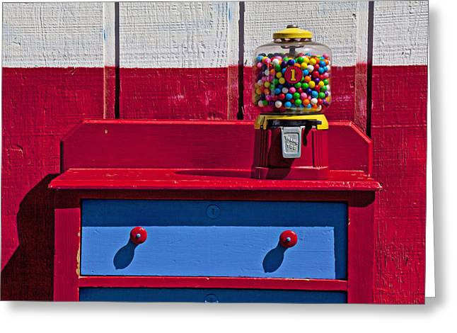 Operating Greeting Cards - Gum ball machine on red desk Greeting Card by Garry Gay