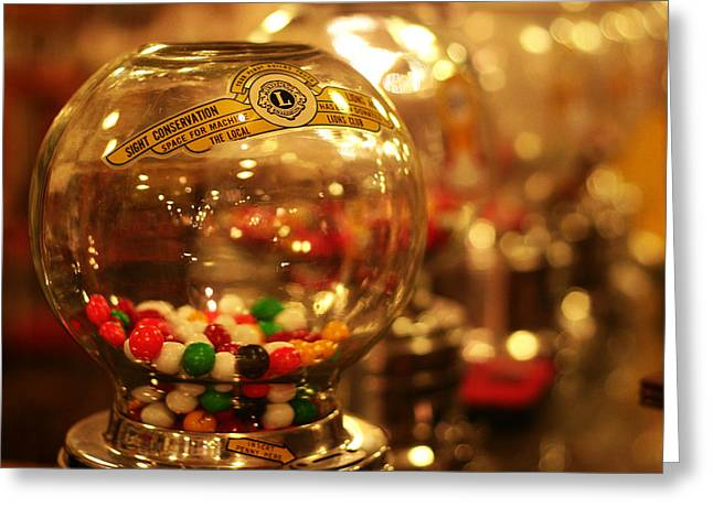 Vending Machine Photographs Greeting Cards - Gumball machines Greeting Card by Toni Hopper