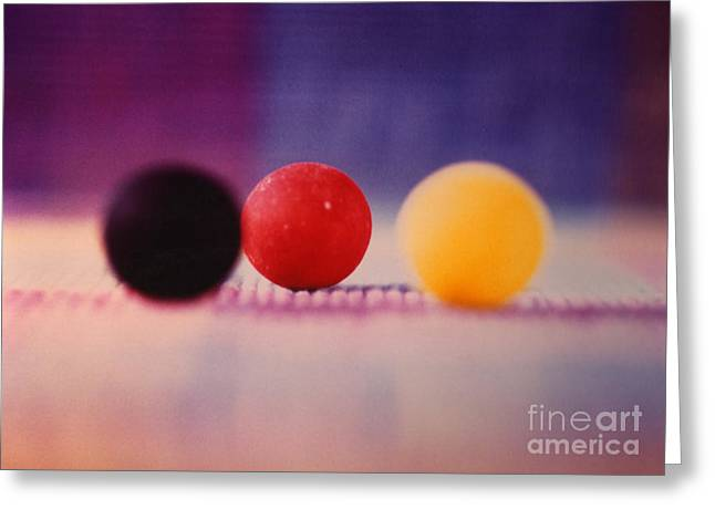 Gumballs On Placemat Greeting Card by Christine Perry