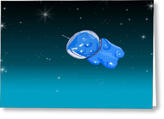 Intergalactic Greeting Cards - Gummy Bear in Space Greeting Card by Jera Sky