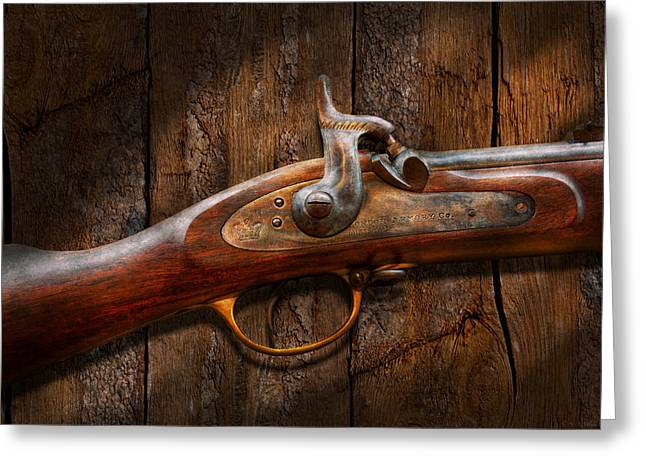 Gunman Greeting Cards - Gun - Musket - London Armory  Greeting Card by Mike Savad