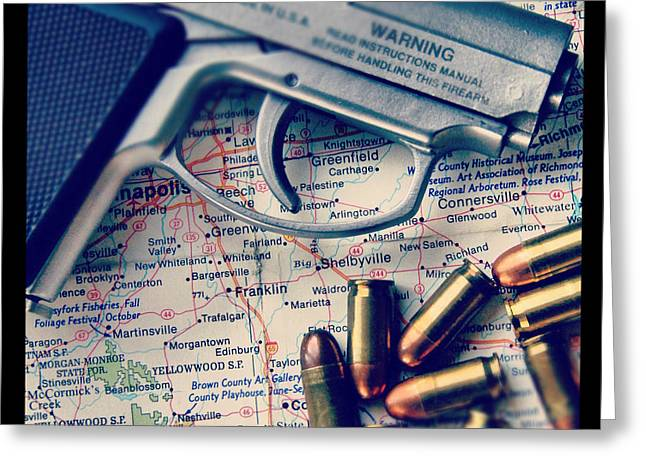 Terrorist Greeting Cards - Gun and Bullets on Map Greeting Card by Jill Battaglia