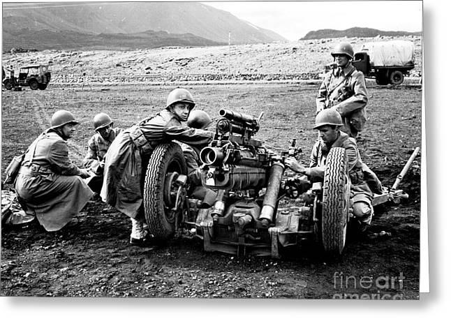 Artillery Gun Greeting Cards - Gun Crew Prepares To Fire A 37mm Greeting Card by Stocktrek Images