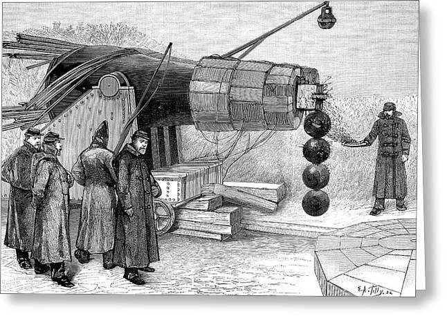 1880s Greeting Cards - Gun Electromagnet, 19th Century Greeting Card by