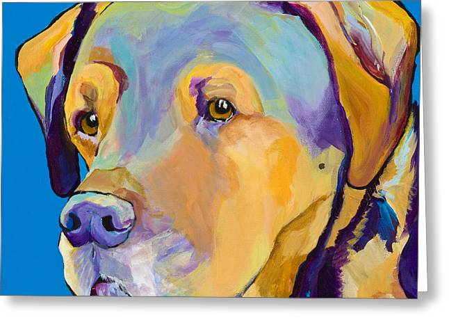 Dog Portrait Greeting Cards - Gunner Greeting Card by Pat Saunders-White