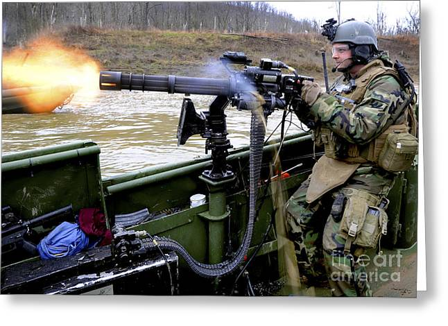 Assault Weapons Greeting Cards - Gunners Mate Fires A Gau-17a Gun Greeting Card by Stocktrek Images