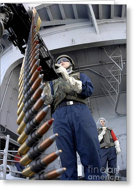 Gunners Mate Seaman Taking Aim Greeting Card by Stocktrek Images