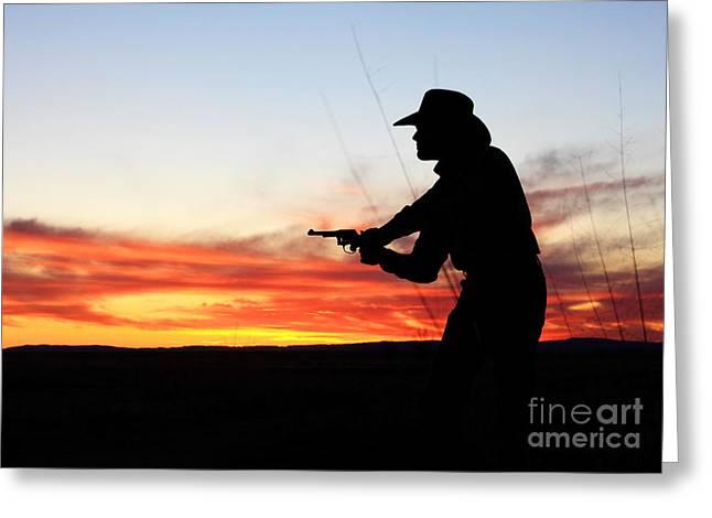 Val Armstrong Greeting Cards - Gunslinger Sunset Greeting Card by Val Armstrong