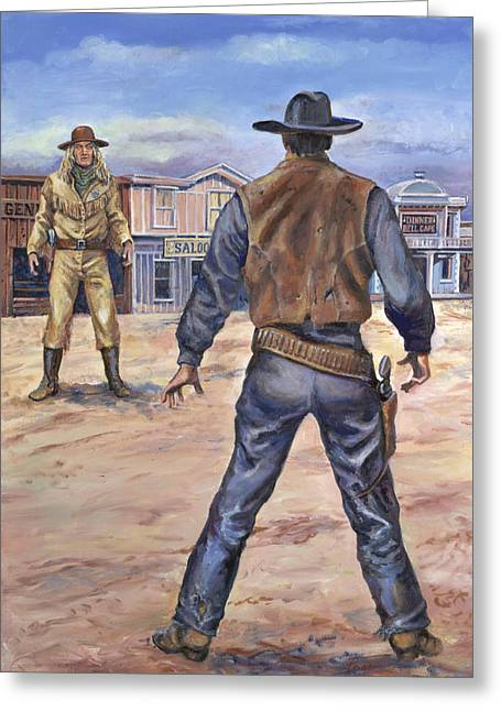 Westen Greeting Cards - Gunslingers Greeting Card by Page Holland