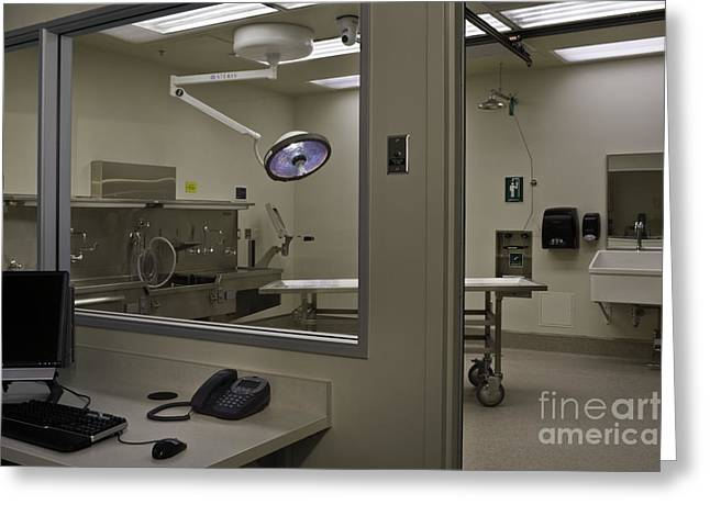Examiner Greeting Cards - Gurney In Autopsy Room Greeting Card by Robert Pisano