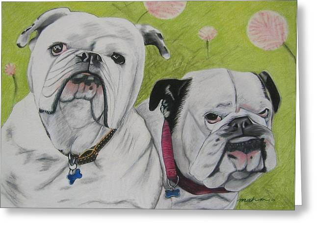 Dog Prints Pastels Greeting Cards - Gus and Olive Greeting Card by Michelle Hayden-Marsan