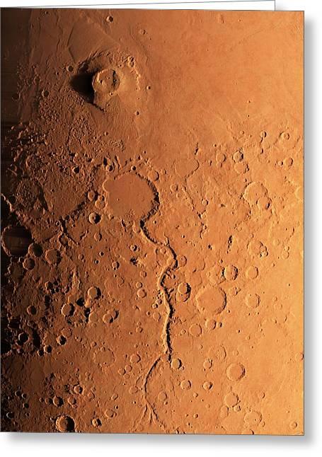 Gusev Crater And River, Mars Greeting Card by Detlev Van Ravenswaay