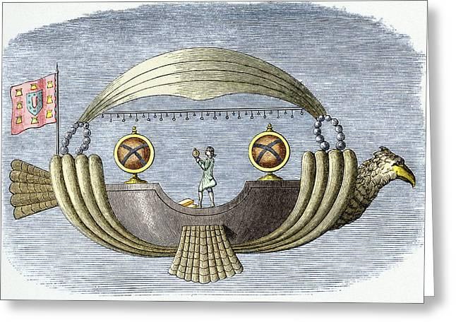 History Of Flying Greeting Cards - Gusmaos Passarola Airship, 1709 Greeting Card by Sheila Terry