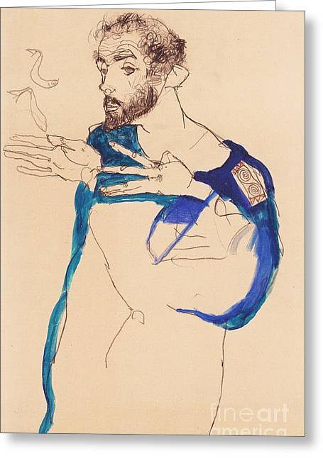 Schiele Drawings Greeting Cards - Gustave Klimt In Artist Smock Greeting Card by Pg Reproductions