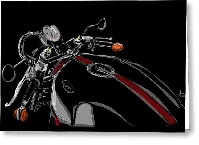Wire Wheels Greeting Cards - Guzzi Greeting Card by Jeremy Lacy