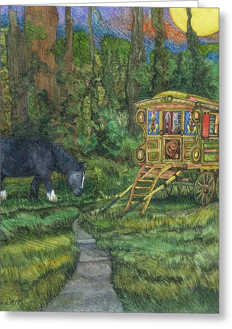 Gypsy Paintings Greeting Cards - Gwendolyns Wagon Greeting Card by Casey Rasmussen White