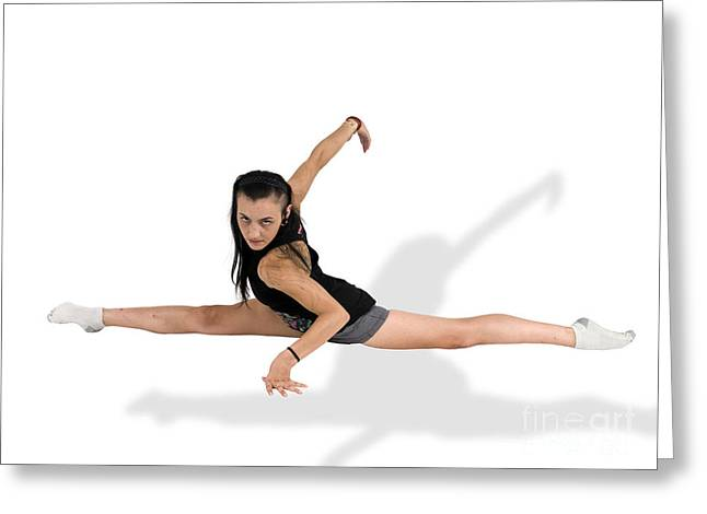 Agility Greeting Cards - Gymnast Does The Splits  Greeting Card by Ilan Rosen