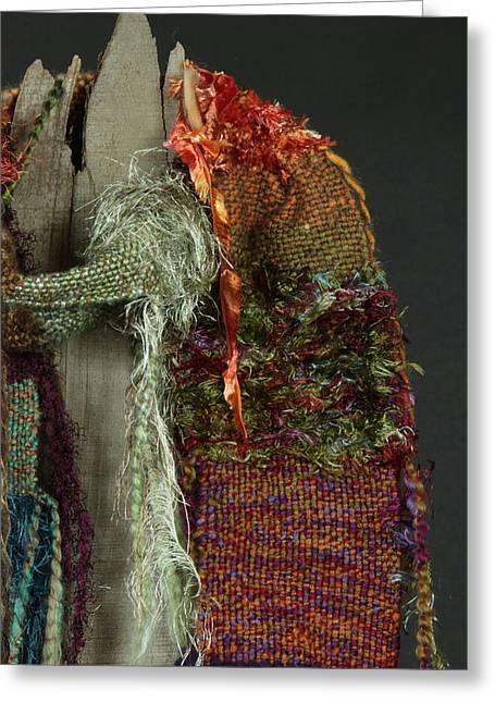 Weave Tapestries - Textiles Greeting Cards - Gypsy Dancer - Art Scarf Greeting Card by Karen Rester