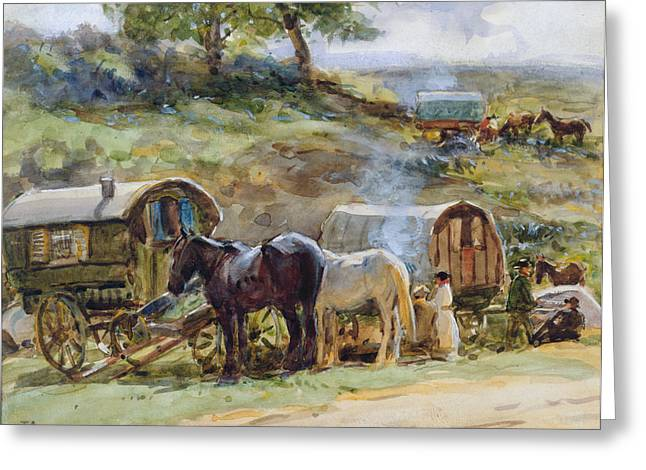 Travellers Greeting Cards - Gypsy Encampment Greeting Card by John Atkinson