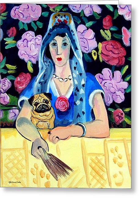 Gypsy Paintings Greeting Cards - Gypsy Pug Greeting Card by Lyn Cook