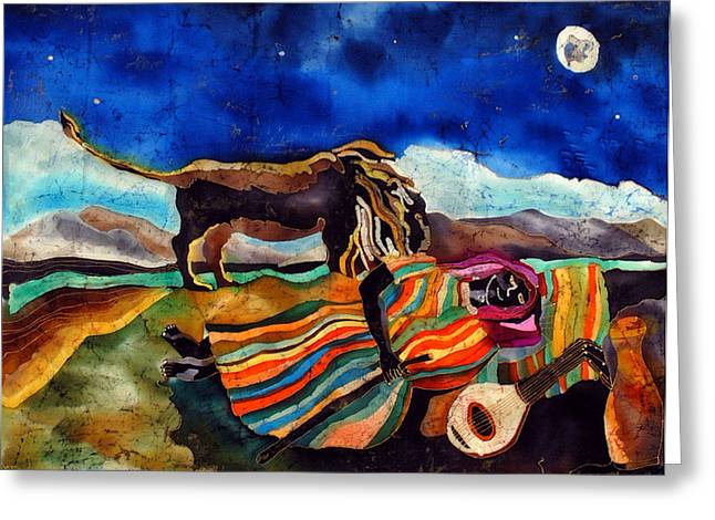Lions Tapestries - Textiles Greeting Cards - Gypsy tribute to Henri Rousseau Greeting Card by Sandra Kern
