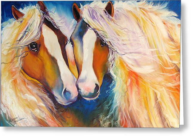 Gypsy Paintings Greeting Cards - Gypsy Vanner Twins Equine Original Greeting Card by Marcia Baldwin