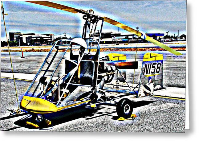 Samuel Sheats Greeting Cards - Gyrocopter Greeting Card by Samuel Sheats