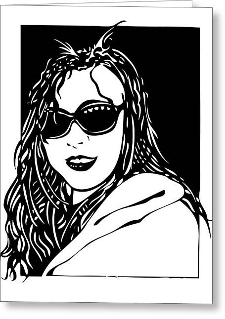 Headshot Drawings Greeting Cards - Ha Jung Greeting Card by Jeff Stein