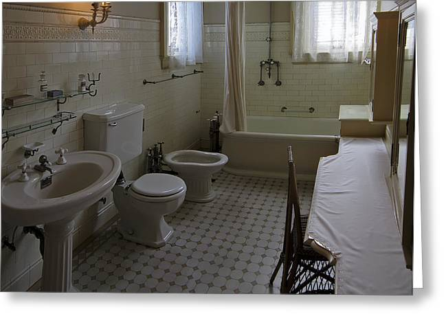 Shower Curtain Greeting Cards - Haas Lilienthal House Victorian Bath - San Francisco Greeting Card by Daniel Hagerman