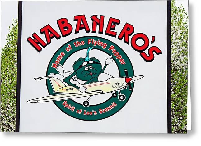 Home Of The Spirit Greeting Cards - Habaneros Home Of The Flying Pepper Sign 1 Greeting Card by Andee Design