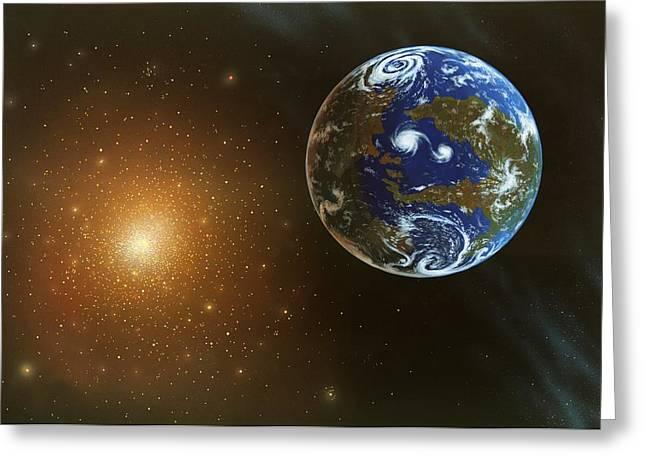 Earthlike Greeting Cards - Habitable Alien Planet, Artwork Greeting Card by Richard Bizley