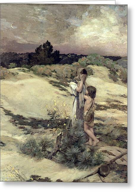 Servants Greeting Cards - Hagar and Ishmael Greeting Card by Jean-Charles Cazin
