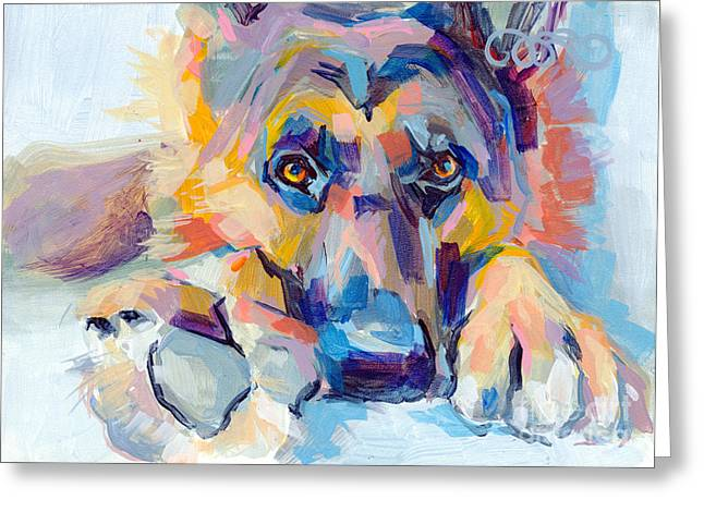 Dog Paw Greeting Cards - Hagen Greeting Card by Kimberly Santini