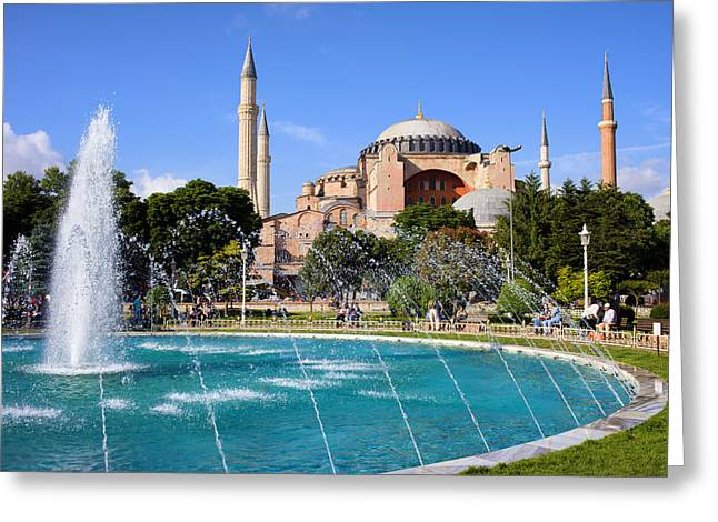 Hagia Sofia Greeting Cards - Hagia Sofia in Istanbul Greeting Card by Artur Bogacki