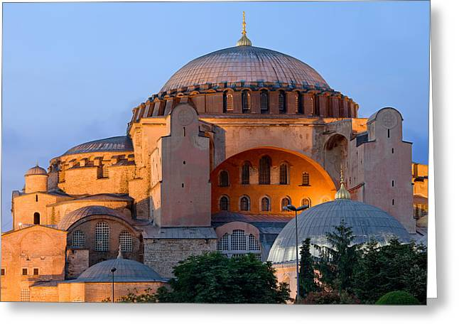 Hagia Sofia Greeting Cards - Hagia Sophia at Dusk Greeting Card by Artur Bogacki