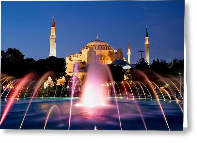 Hagia Sofia Greeting Cards - Hagia Sophia at Night Greeting Card by Artur Bogacki