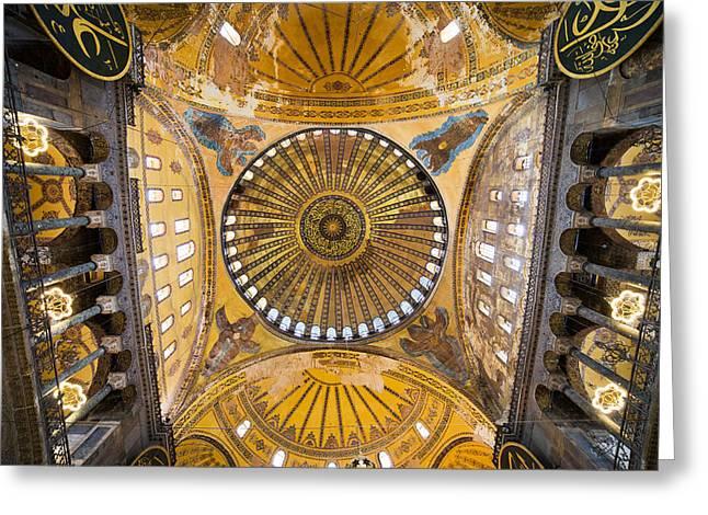 Hagia Sophia Ceiling Greeting Card by Artur Bogacki