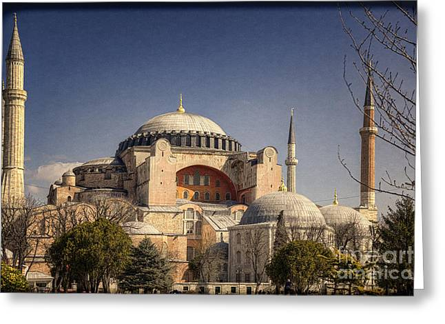Byzantine Greeting Cards - Hagia Sophia Greeting Card by Joan Carroll