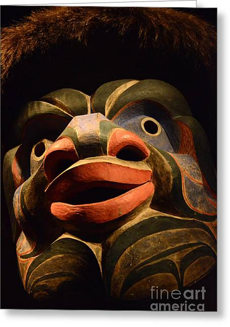 Ancient Indian Art Greeting Cards - Haida Carved Wooden mask 2 Greeting Card by Bob Christopher
