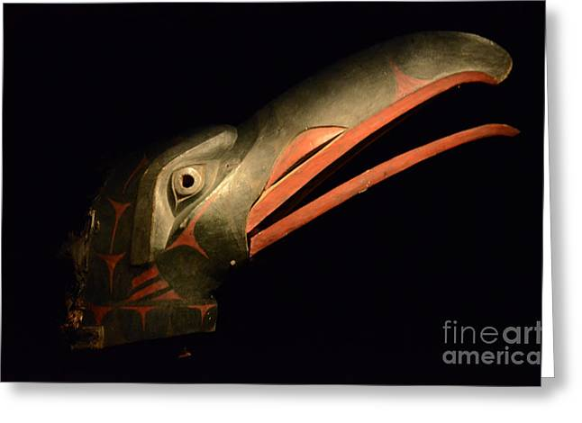 Ancient Indian Art Greeting Cards - Haida Carved Wooden Mask 3 Greeting Card by Bob Christopher