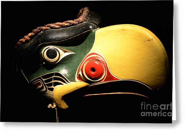 Ancient Indian Art Greeting Cards - Haida Carved Wooden Mask 7 Greeting Card by Bob Christopher
