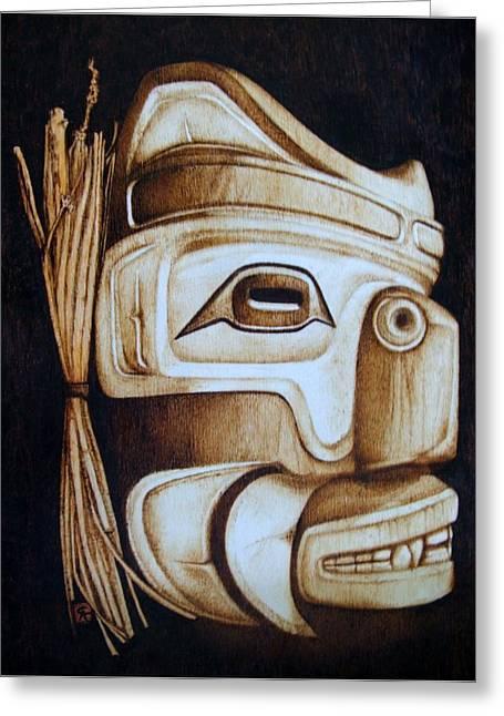 Pacific Pyrography Greeting Cards - Haida Mask Greeting Card by Cynthia Adams