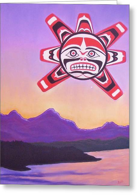 Pacific Northwest Pastels Greeting Cards - Haida Sunrise Greeting Card by Judi Schultze