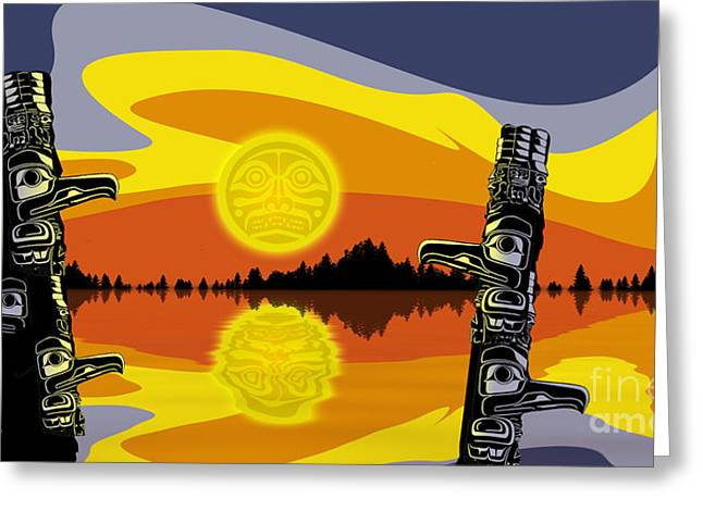 Haida Sunset Greeting Card by Christopher Williams