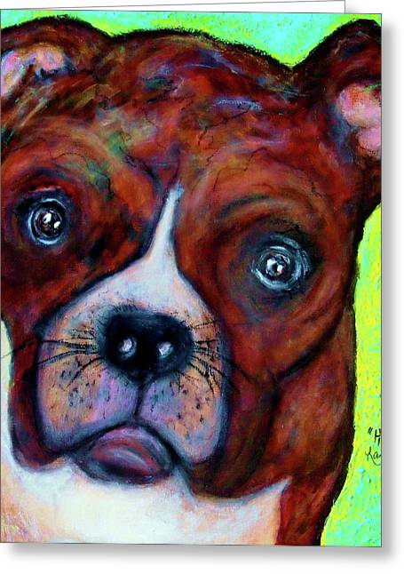 Hailey The Boxer Greeting Card by Laura  Grisham