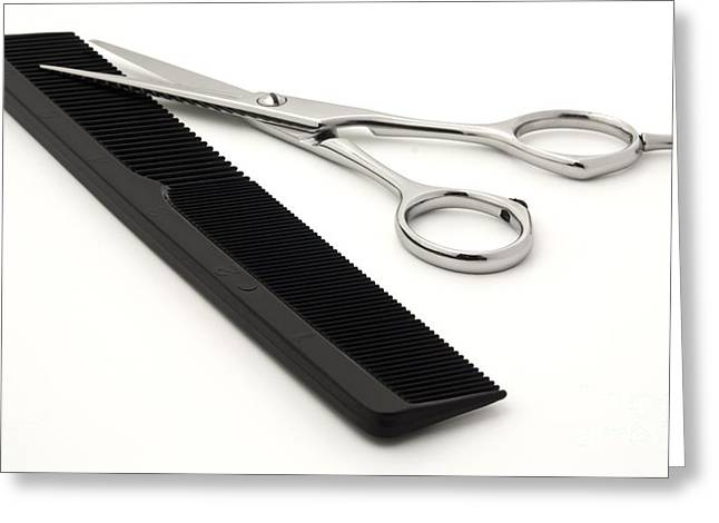 Hairstyle Greeting Cards - Hair scissors and comb Greeting Card by Blink Images