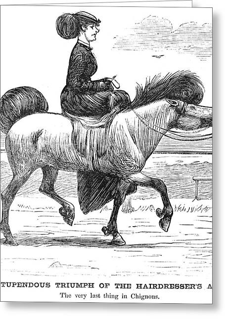 Sidesaddle Greeting Cards - HAIRSTYLE, c1865 Greeting Card by Granger