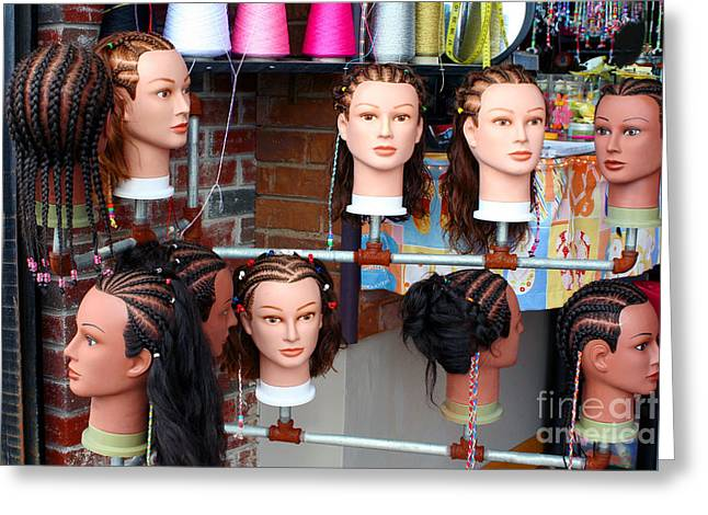 Coif Greeting Cards - Hairstyles On Mannequins Greeting Card by Susan Stevenson