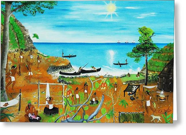 Slavery Paintings Greeting Cards - Haiti 1492 Before Christopher Columbus Greeting Card by Nicole Jean-Louis